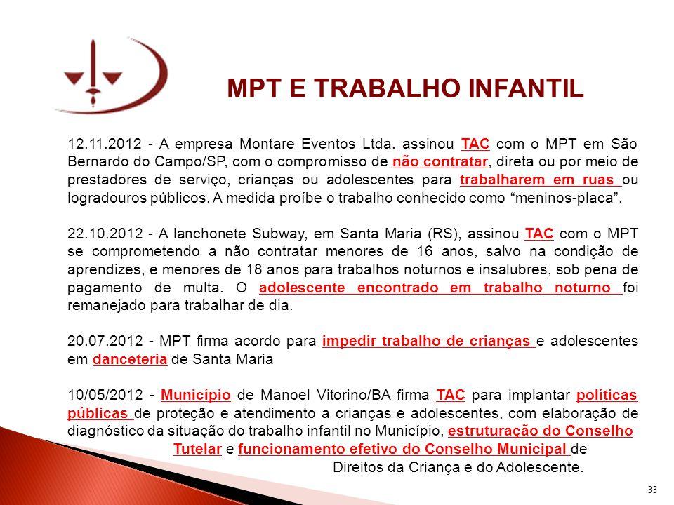 MPT E TRABALHO INFANTIL 12.11.2012 - A empresa Montare Eventos Ltda. assinou TAC com o MPT em São Bernardo do Campo/SP, com o compromisso de não contr