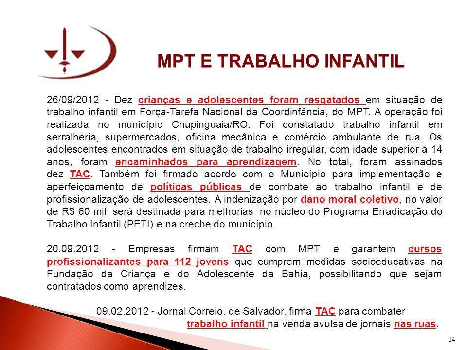 MPT E TRABALHO INFANTIL 26/09/2012 - Dez crianças e adolescentes foram resgatados em situação de trabalho infantil em Força-Tarefa Nacional da Coordin