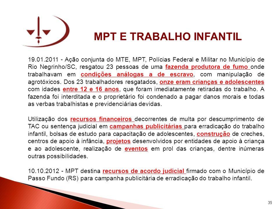 MPT E TRABALHO INFANTIL 19.01.2011 - Ação conjunta do MTE, MPT, Polícias Federal e Militar no Município de Rio Negrinho/SC, resgatou 23 pessoas de uma