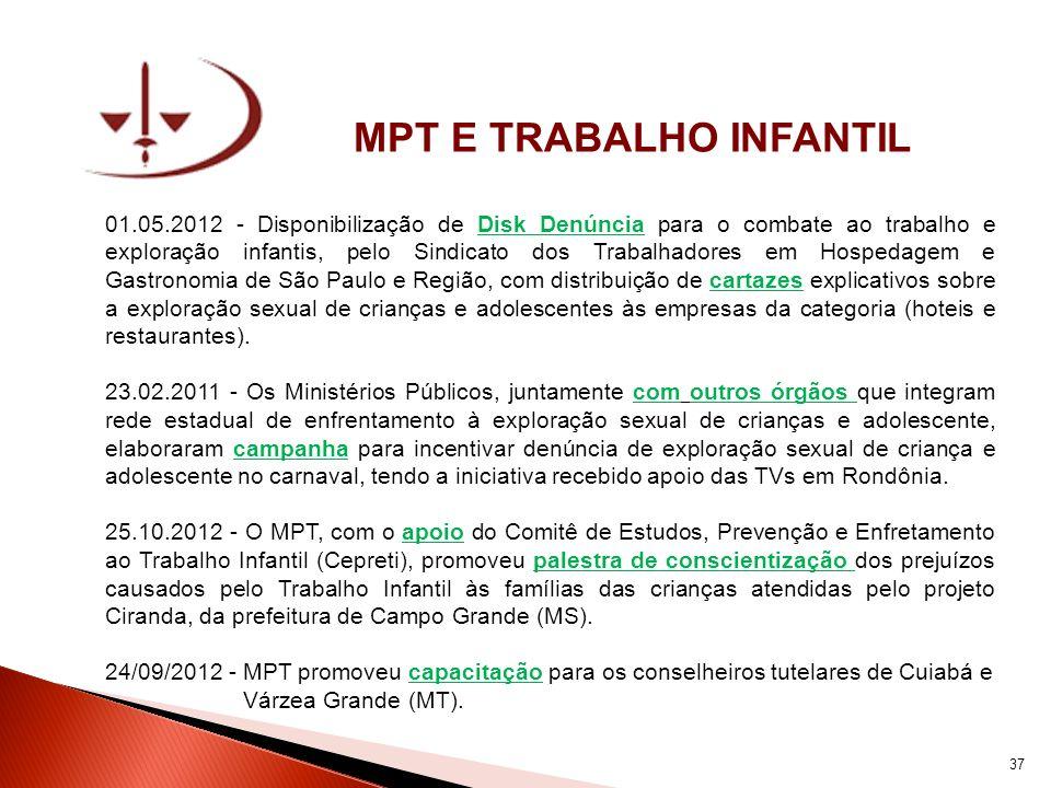 MPT E TRABALHO INFANTIL 01.05.2012 - Disponibilização de Disk Denúncia para o combate ao trabalho e exploração infantis, pelo Sindicato dos Trabalhado