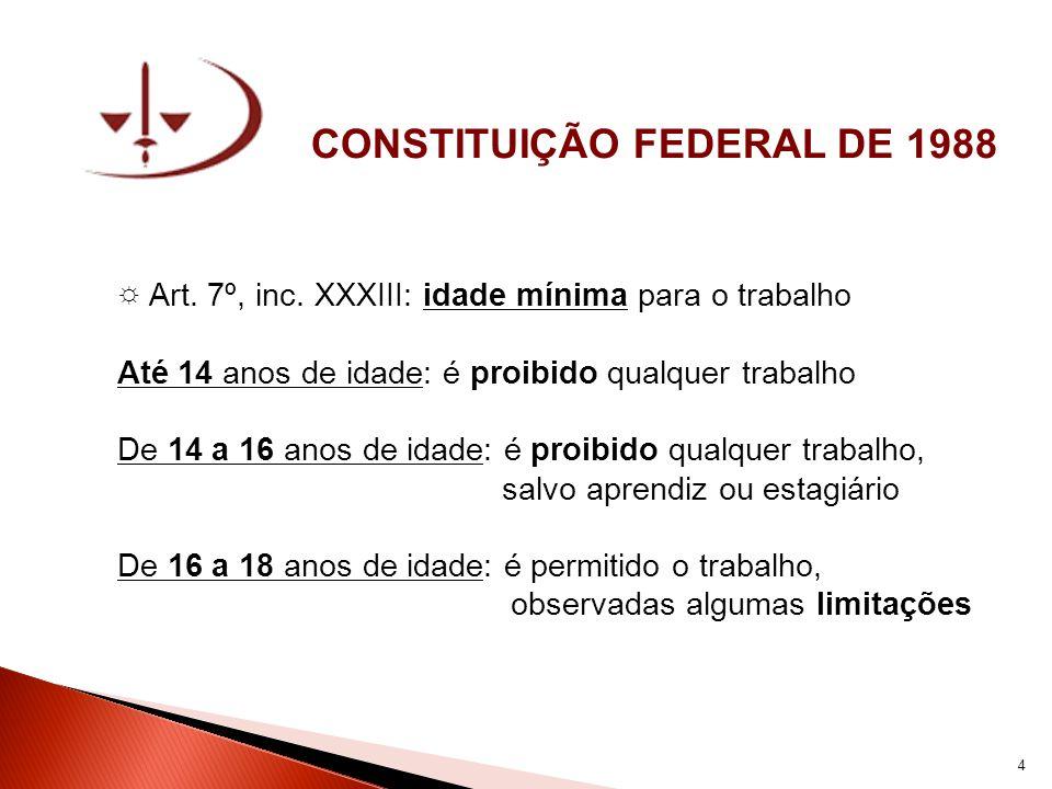 CONSTITUIÇÃO FEDERAL DE 1988 Art. 7º, inc. XXXIII: idade mínima para o trabalho Até 14 anos de idade: é proibido qualquer trabalho De 14 a 16 anos de