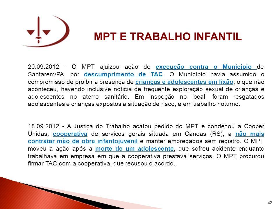 MPT E TRABALHO INFANTIL 20.09.2012 - O MPT ajuizou ação de execução contra o Município de Santarém/PA, por descumprimento de TAC. O Município havia as