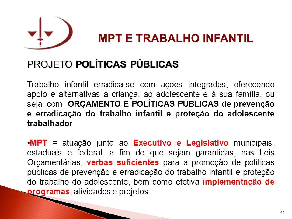 MPT E TRABALHO INFANTIL PROJETO POLÍTICAS PÚBLICAS Trabalho infantil erradica-se com ações integradas, oferecendo apoio e alternativas à criança, ao a