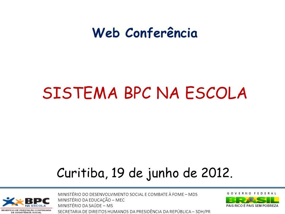 MINISTÉRIO DO DESENVOLVIMENTO SOCIAL E COMBATE À FOME – MDS MINISTÉRIO DA EDUCAÇÃO – MEC MINISTÉRIO DA SAÚDE – MS SECRETARIA DE DIREITOS HUMANOS DA PRESIDÊNCIA DA REPÚBLICA – SDH/PR GOVERNO FEDERAL PAIS RICO É PAIS SEM POBREZA Web Conferência SISTEMA BPC NA ESCOLA Curitiba, 19 de junho de 2012.