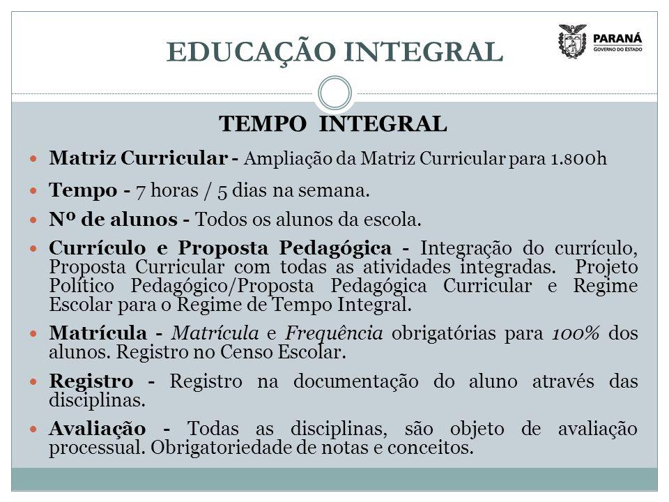 EDUCAÇÃO INTEGRAL TEMPO INTEGRAL Matriz Curricular - Ampliação da Matriz Curricular para 1.