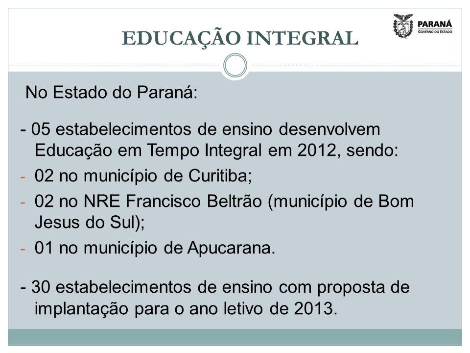 EDUCAÇÃO INTEGRAL No Estado do Paraná: - 05 estabelecimentos de ensino desenvolvem Educação em Tempo Integral em 2012, sendo: - 02 no município de Curitiba; - 02 no NRE Francisco Beltrão (município de Bom Jesus do Sul); - 01 no município de Apucarana.