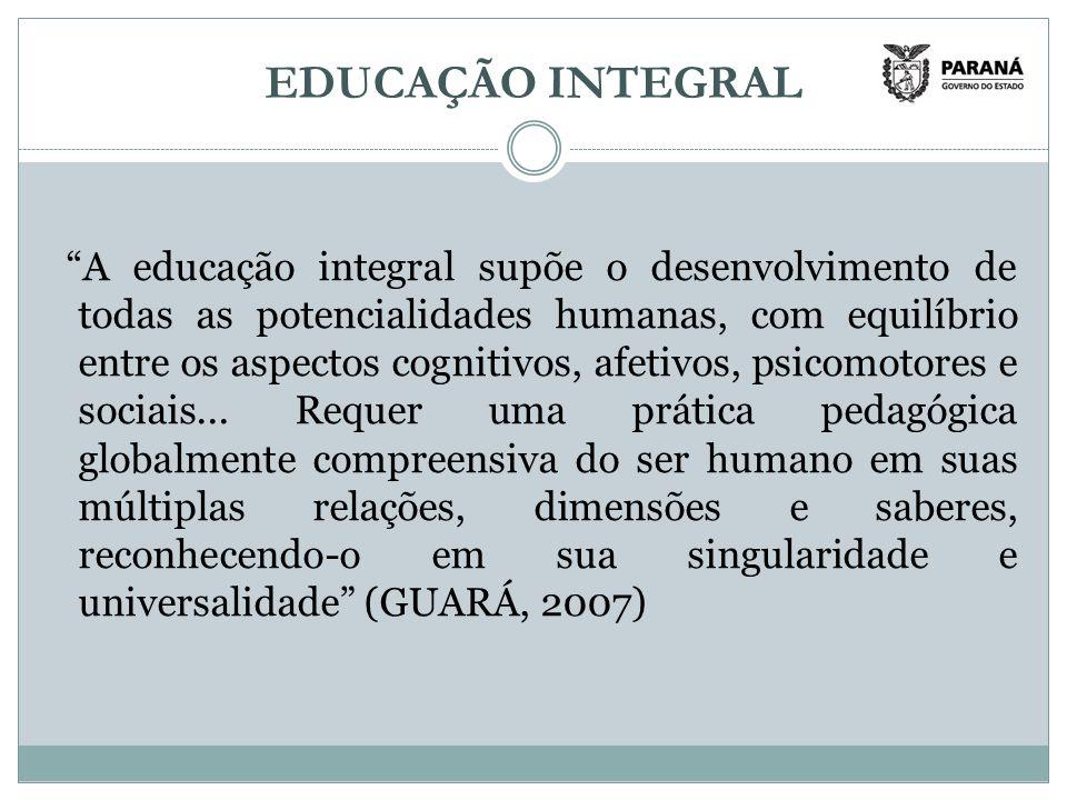 EDUCAÇÃO INTEGRAL A educação integral supõe o desenvolvimento de todas as potencialidades humanas, com equilíbrio entre os aspectos cognitivos, afetivos, psicomotores e sociais...