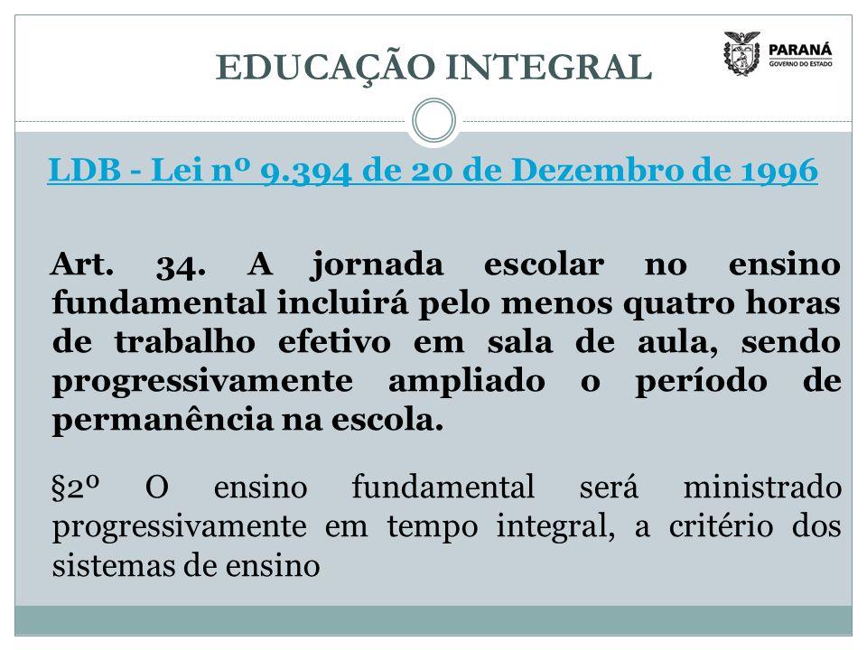 EDUCAÇÃO INTEGRAL LDB - Lei nº 9.394 de 20 de Dezembro de 1996 Art.