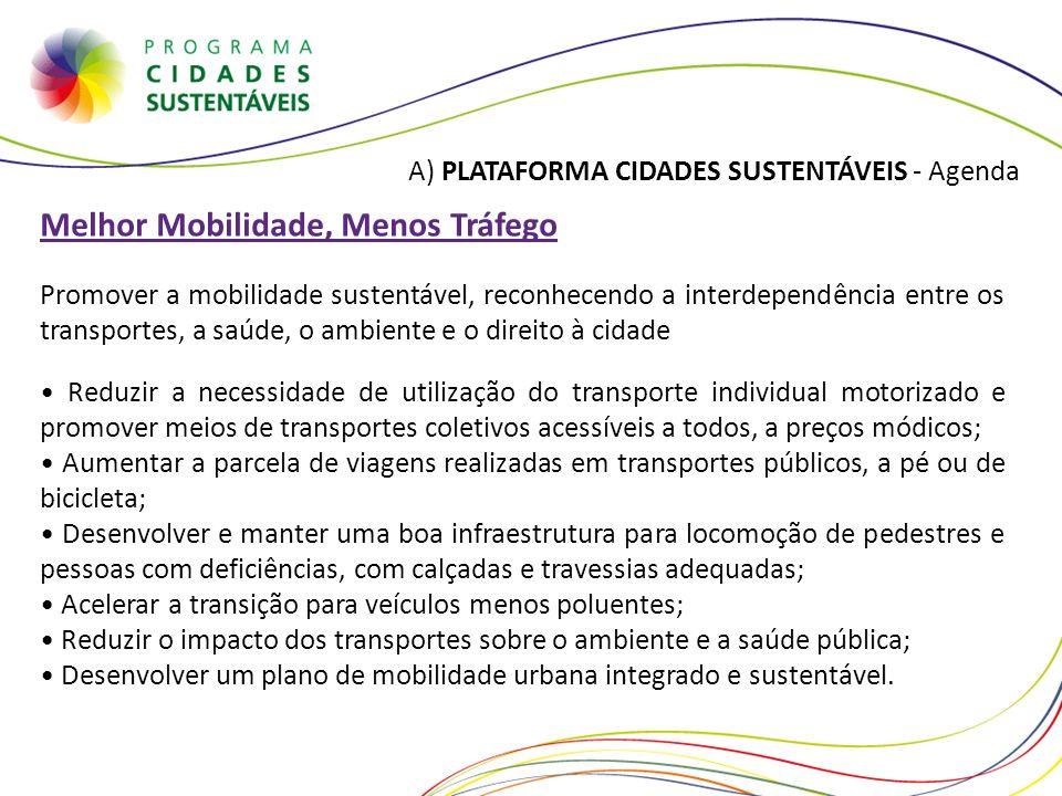 A) PLATAFORMA CIDADES SUSTENTÁVEIS - Agenda Melhor Mobilidade, Menos Tráfego Promover a mobilidade sustentável, reconhecendo a interdependência entre