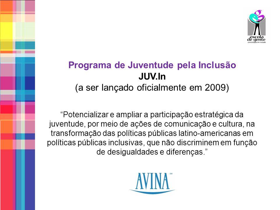 Programa de Juventude pela Inclusão JUV.In (a ser lançado oficialmente em 2009) Potencializar e ampliar a participação estratégica da juventude, por m