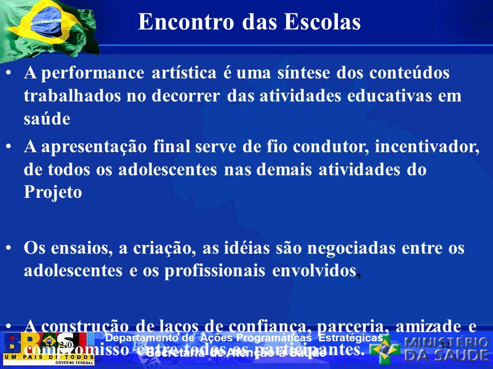 Secretaria de Atenção à Saúde Departamento de Ações Programáticas Estratégicas Encontro das Escolas A performance artística é uma síntese dos conteúdo