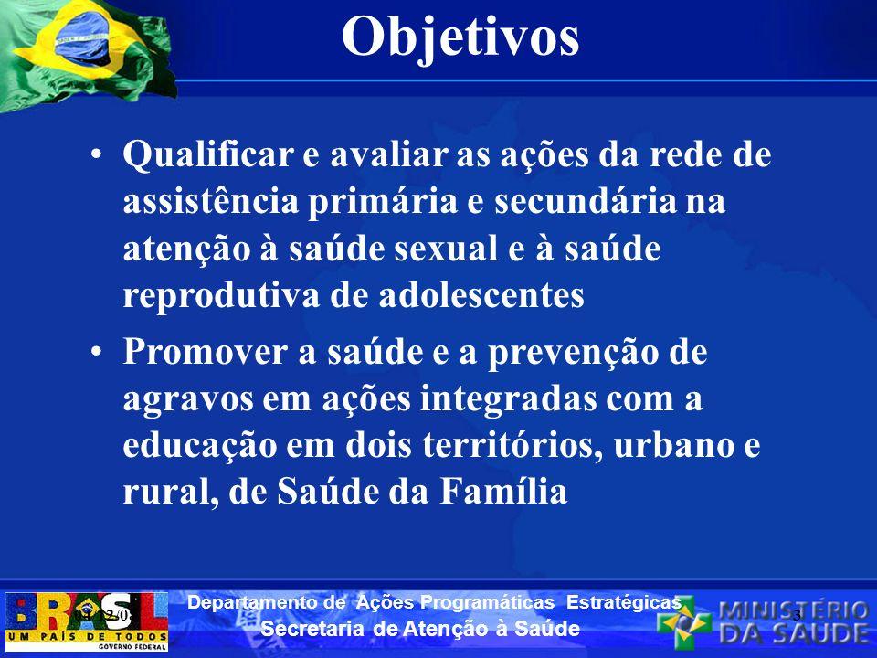 Secretaria de Atenção à Saúde Departamento de Ações Programáticas Estratégicas Objetivos Qualificar e avaliar as ações da rede de assistência primária