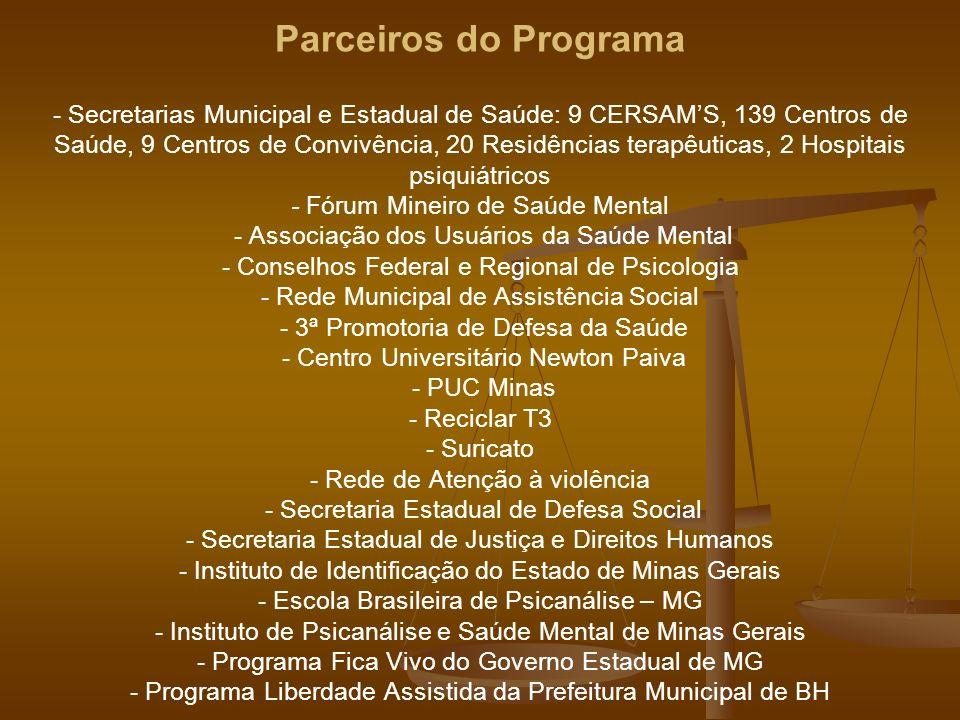 Parceiros do Programa - Secretarias Municipal e Estadual de Saúde: 9 CERSAMS, 139 Centros de Saúde, 9 Centros de Convivência, 20 Residências terapêuti