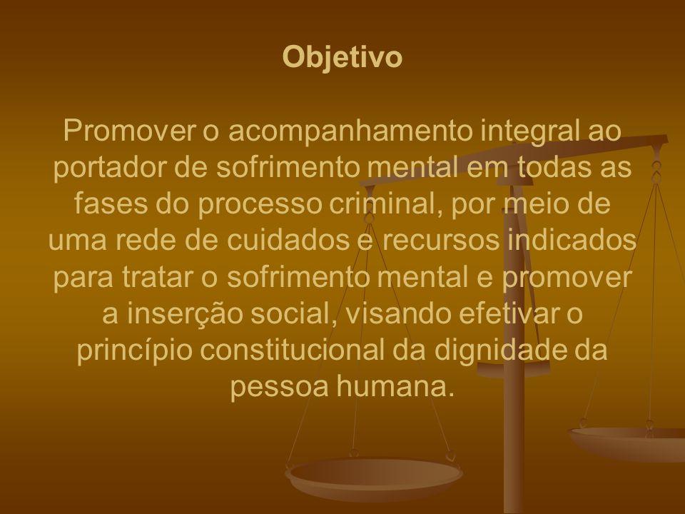 Objetivo Promover o acompanhamento integral ao portador de sofrimento mental em todas as fases do processo criminal, por meio de uma rede de cuidados