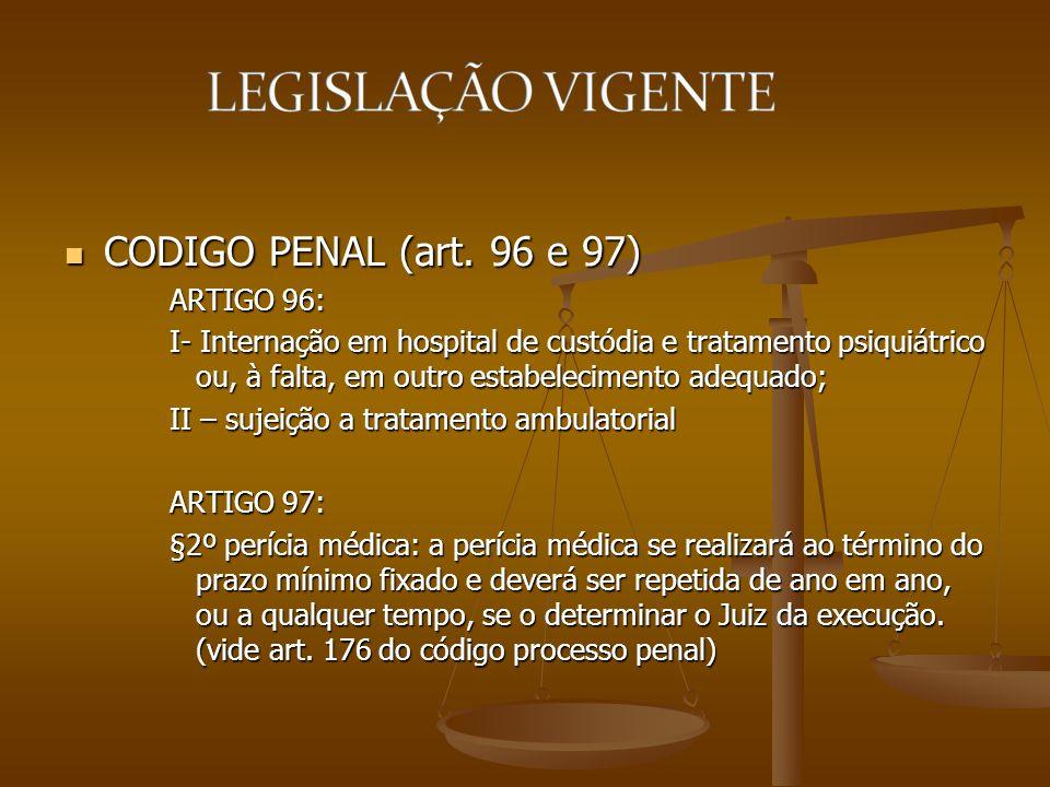 CODIGO PENAL (art. 96 e 97) CODIGO PENAL (art. 96 e 97) ARTIGO 96: I- Internação em hospital de custódia e tratamento psiquiátrico ou, à falta, em out