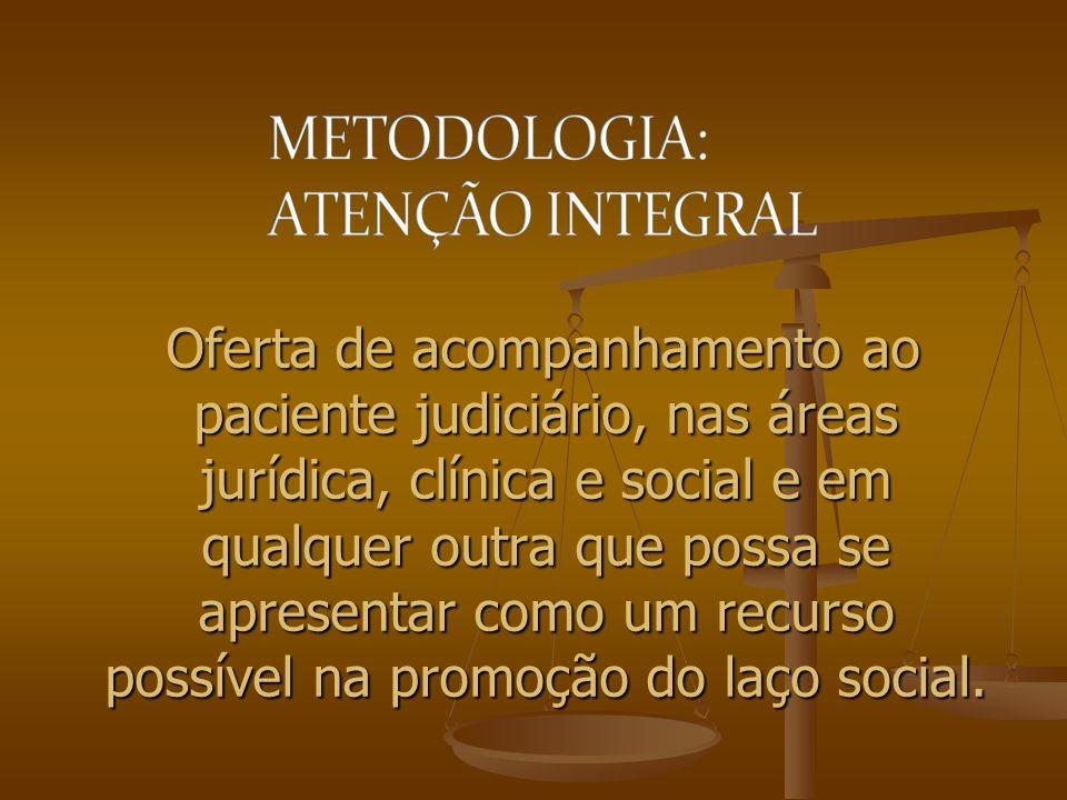 Oferta de acompanhamento ao paciente judiciário, nas áreas jurídica, clínica e social e em qualquer outra que possa se apresentar como um recurso poss