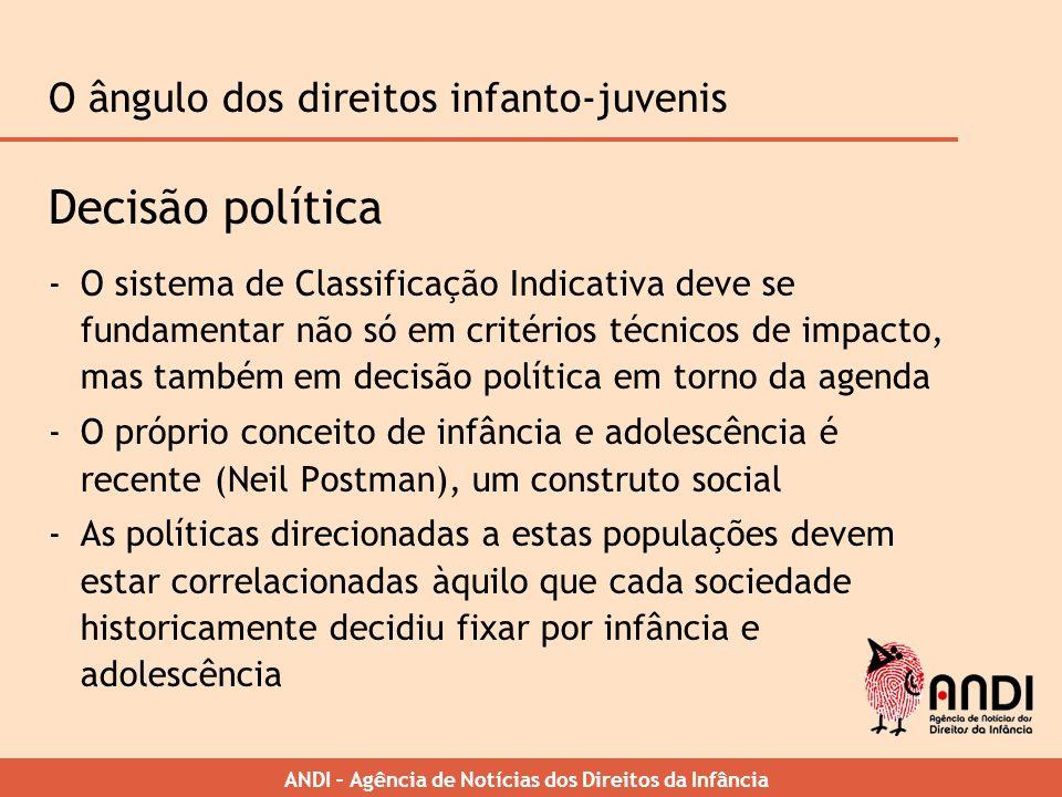 ANDI – Agência de Notícias dos Direitos da Infância O ângulo dos direitos infanto-juvenis Decisão política -O sistema de Classificação Indicativa deve