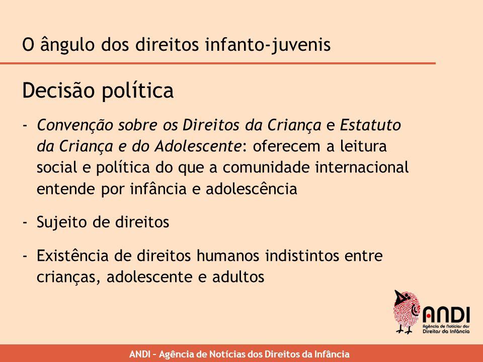 ANDI – Agência de Notícias dos Direitos da Infância O ângulo dos direitos infanto-juvenis Decisão política -Convenção sobre os Direitos da Criança e E