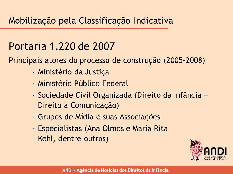 ANDI – Agência de Notícias dos Direitos da Infância Mobilização pela Classificação Indicativa Portaria 1.220 de 2007 Principais atores do processo de