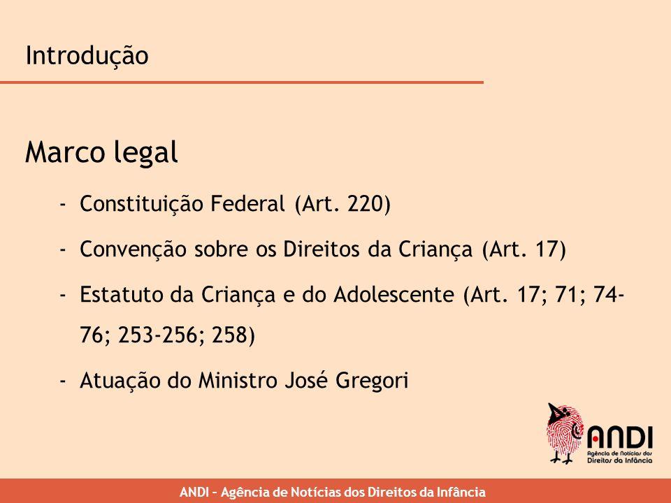 ANDI – Agência de Notícias dos Direitos da Infância Introdução Marco legal -Constituição Federal (Art. 220) -Convenção sobre os Direitos da Criança (A
