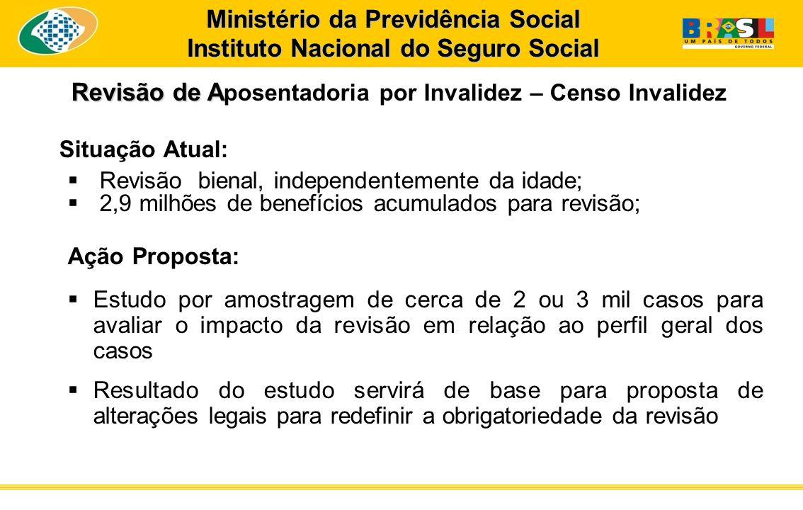 Revisão de A Revisão de A posentadoria por Invalidez – Censo Invalidez Situação Atual: Revisão bienal, independentemente da idade; 2,9 milhões de bene