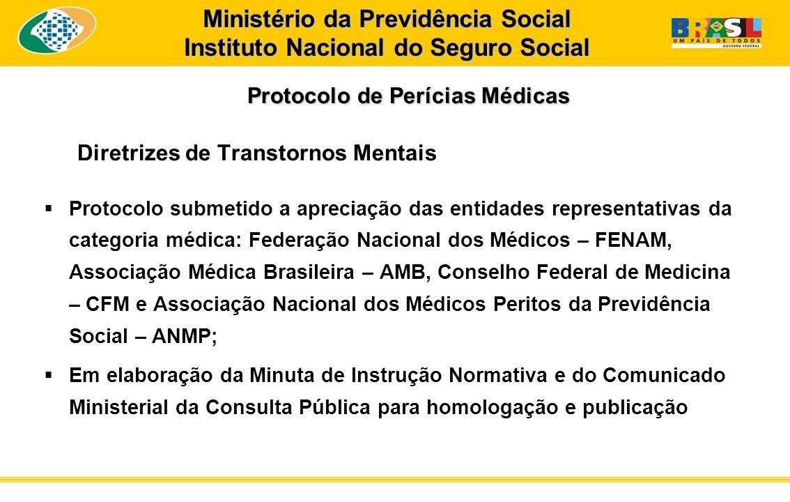 Protocolo de Perícias Médicas Protocolo de Perícias Médicas Diretrizes de Transtornos Mentais Protocolo submetido a apreciação das entidades represent