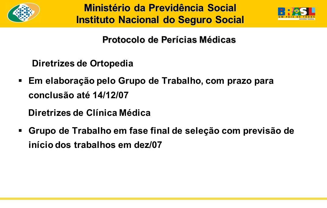 Protocolo de Perícias Médicas Protocolo de Perícias Médicas Diretrizes de Ortopedia Em elaboração pelo Grupo de Trabalho, com prazo para conclusão até
