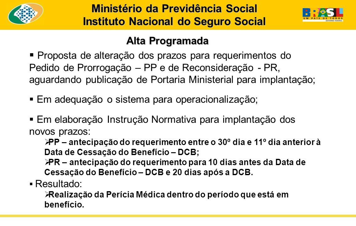 Alta Programada Alta Programada Ministério da Previdência Social Instituto Nacional do Seguro Social Proposta de alteração dos prazos para requeriment