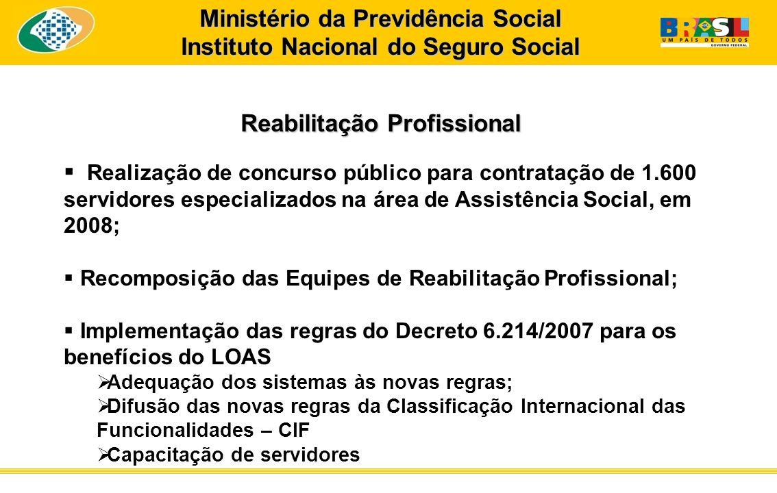 Ministério da Previdência Social Instituto Nacional do Seguro Social Reabilitação Profissional Realização de concurso público para contratação de 1.60