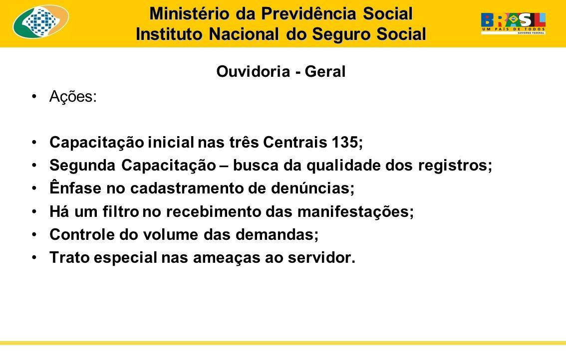 Ministério da Previdência Social Instituto Nacional do Seguro Social Ouvidoria - Geral Ações: Capacitação inicial nas três Centrais 135; Segunda Capac