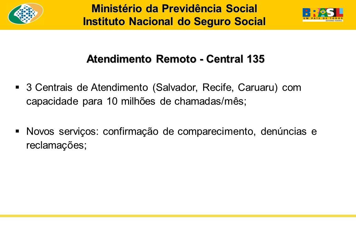 Atendimento Remoto - Central 135 3 Centrais de Atendimento (Salvador, Recife, Caruaru) com capacidade para 10 milhões de chamadas/mês; Novos serviços:
