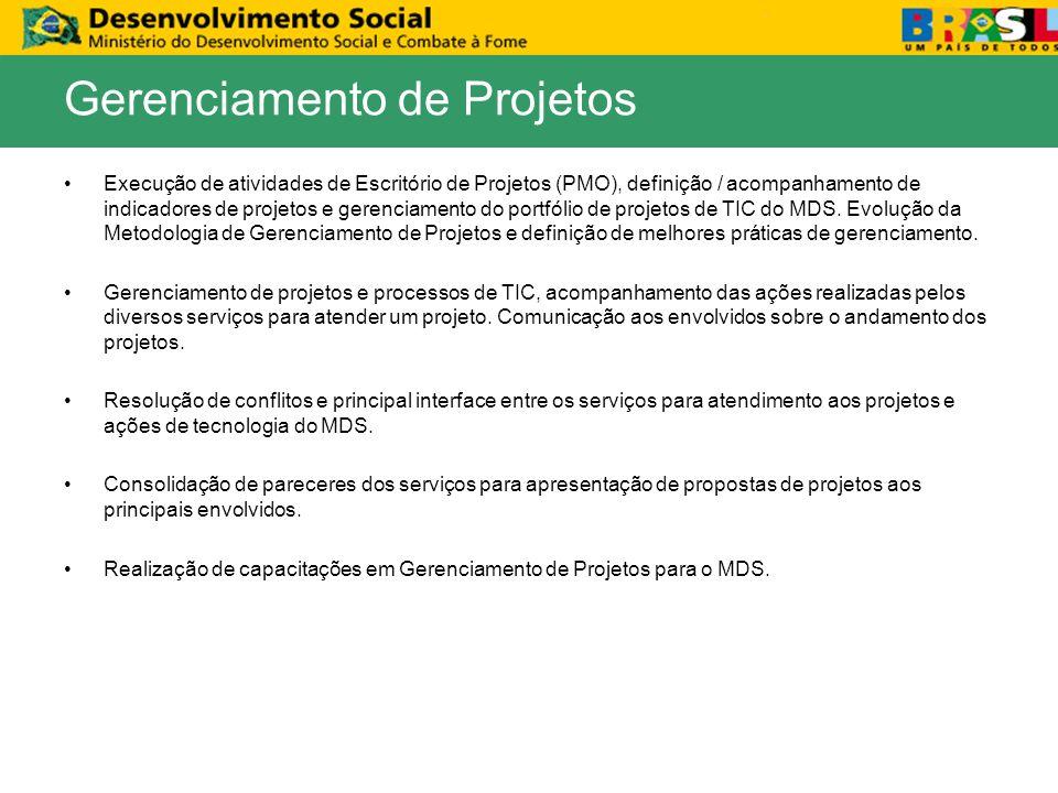 Execução de atividades de Escritório de Projetos (PMO), definição / acompanhamento de indicadores de projetos e gerenciamento do portfólio de projetos de TIC do MDS.