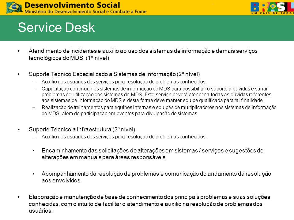 Atendimento de incidentes e auxilio ao uso dos sistemas de informação e demais serviços tecnológicos do MDS. (1º nível) Suporte Técnico Especializado