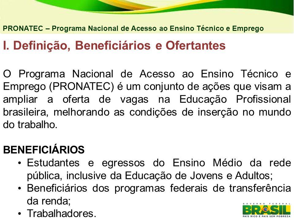 I. Definição, Beneficiários e Ofertantes O Programa Nacional de Acesso ao Ensino Técnico e Emprego (PRONATEC) é um conjunto de ações que visam a ampli