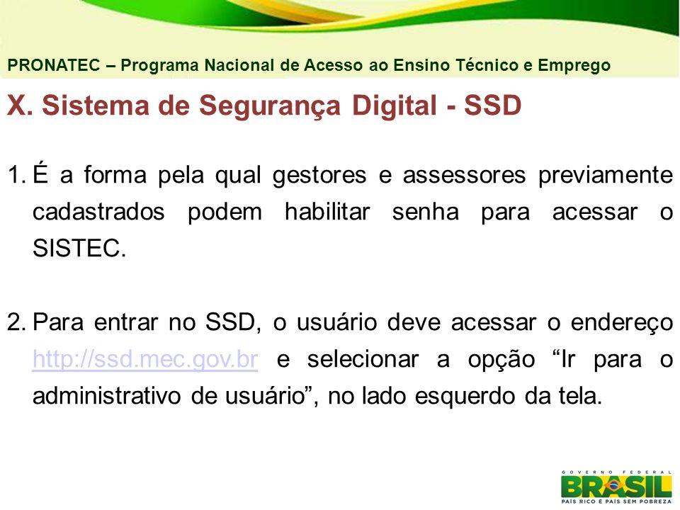 PRONATEC – Programa Nacional de Acesso ao Ensino Técnico e Emprego X. Sistema de Segurança Digital - SSD 1.É a forma pela qual gestores e assessores p