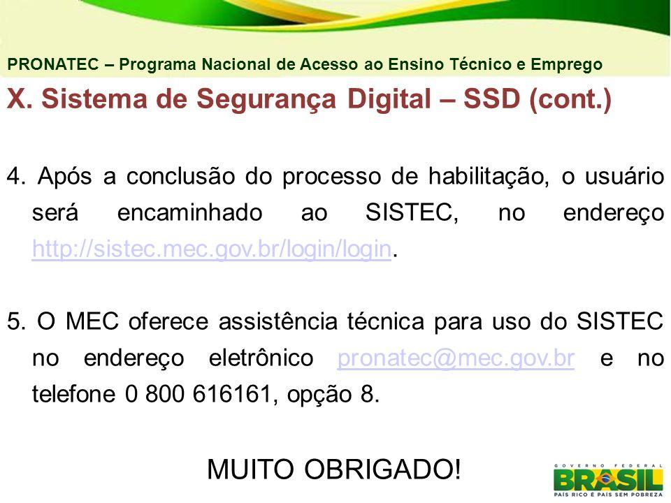 PRONATEC – Programa Nacional de Acesso ao Ensino Técnico e Emprego 4. Após a conclusão do processo de habilitação, o usuário será encaminhado ao SISTE