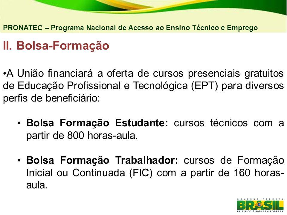 II. Bolsa-Formação A União financiará a oferta de cursos presenciais gratuitos de Educação Profissional e Tecnológica (EPT) para diversos perfis de be