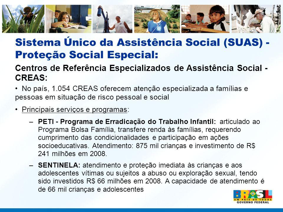 Centros de Referência Especializados de Assistência Social - CREAS: No país, 1.054 CREAS oferecem atenção especializada a famílias e pessoas em situaç
