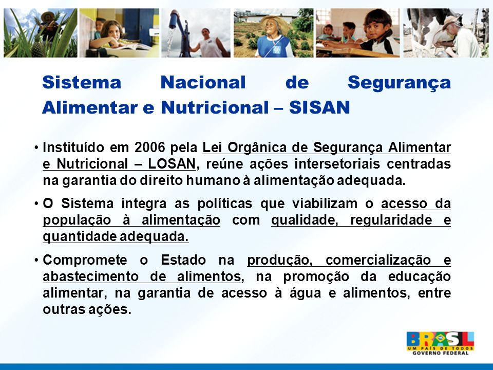 Sistema Nacional de Segurança Alimentar e Nutricional – SISAN Instituído em 2006 pela Lei Orgânica de Segurança Alimentar e Nutricional – LOSAN, reúne
