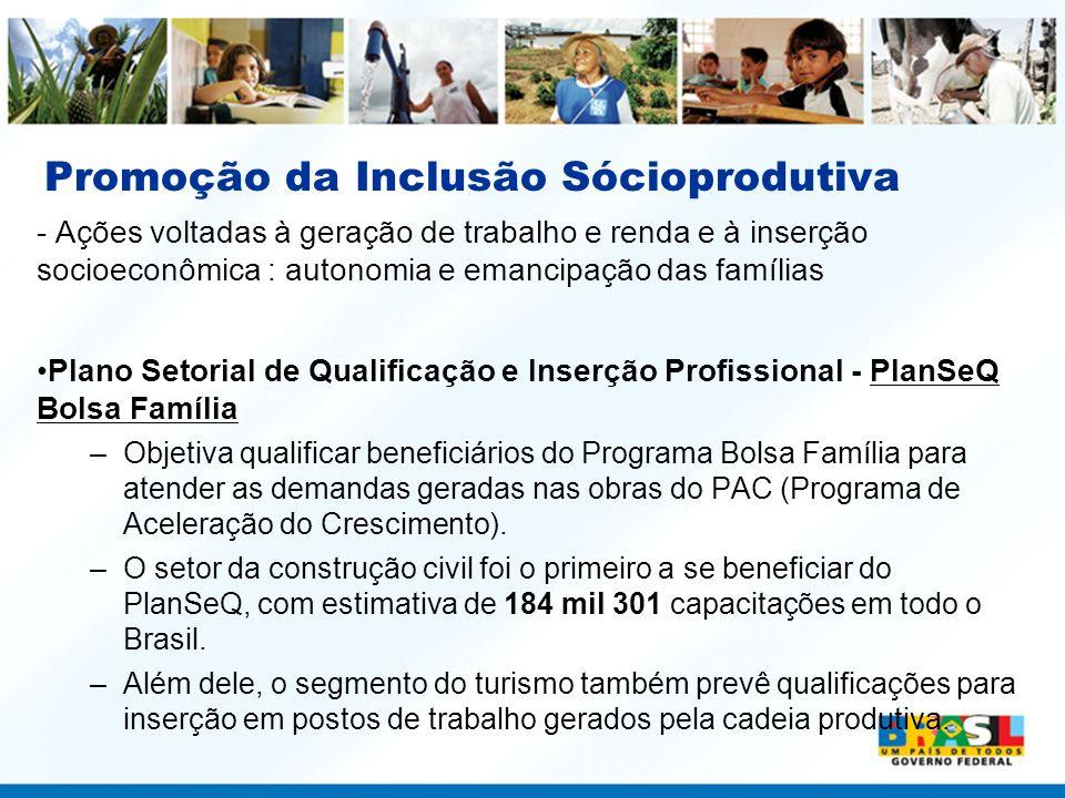 Promoção da Inclusão Sócioprodutiva - Ações voltadas à geração de trabalho e renda e à inserção socioeconômica : autonomia e emancipação das famílias