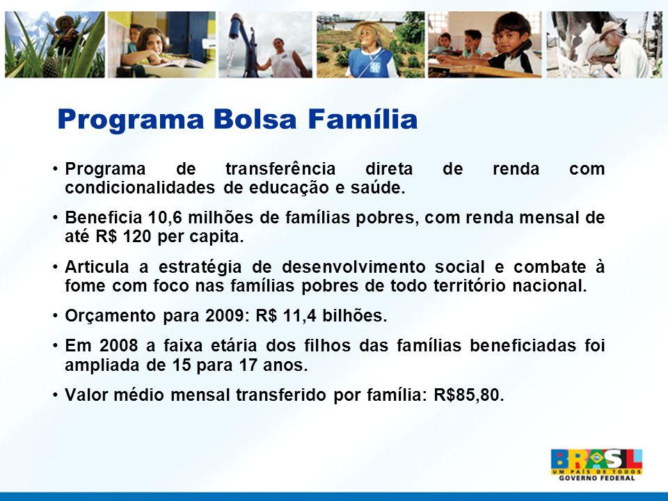 Programa Bolsa Família Programa de transferência direta de renda com condicionalidades de educação e saúde. Beneficia 10,6 milhões de famílias pobres,