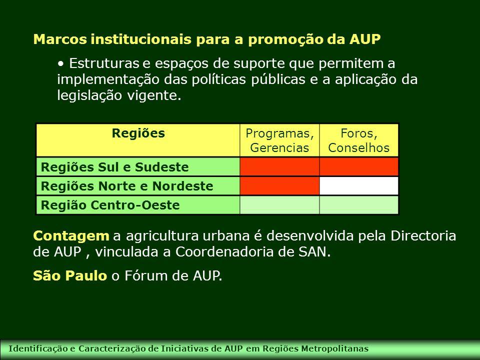 Identificação e Caracterização de Iniciativas de AUP em Regiões Metropolitanas Marcos institucionais para a promoção da AUP Estruturas e espaços de su
