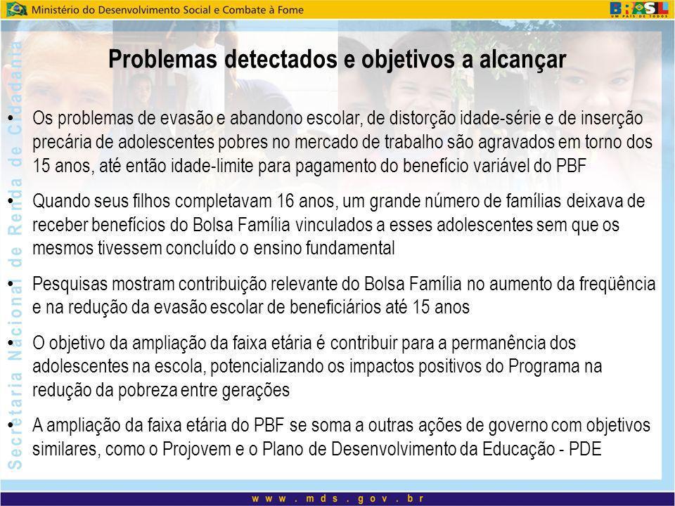 Problemas detectados e objetivos a alcançar Os problemas de evasão e abandono escolar, de distorção idade-série e de inserção precária de adolescentes