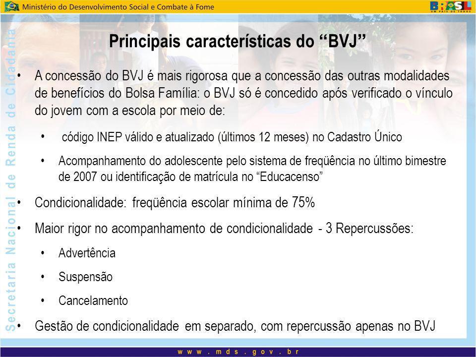 A concessão do BVJ é mais rigorosa que a concessão das outras modalidades de benefícios do Bolsa Família: o BVJ só é concedido após verificado o víncu