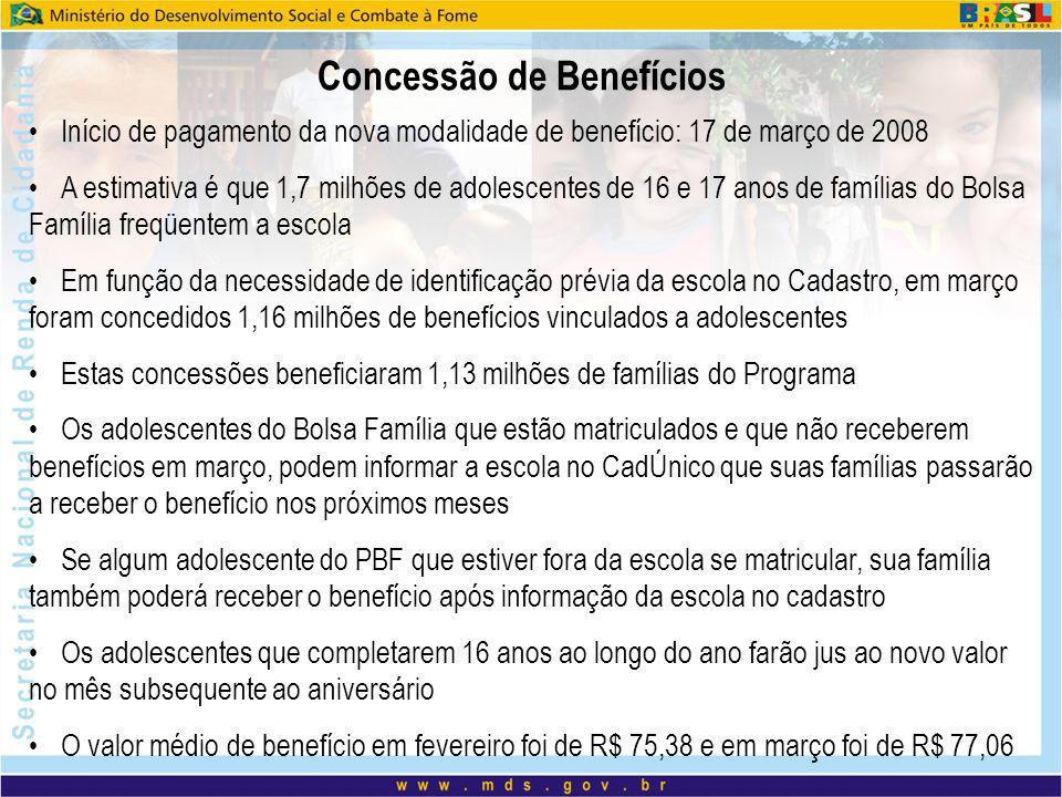 Início de pagamento da nova modalidade de benefício: 17 de março de 2008 A estimativa é que 1,7 milhões de adolescentes de 16 e 17 anos de famílias do