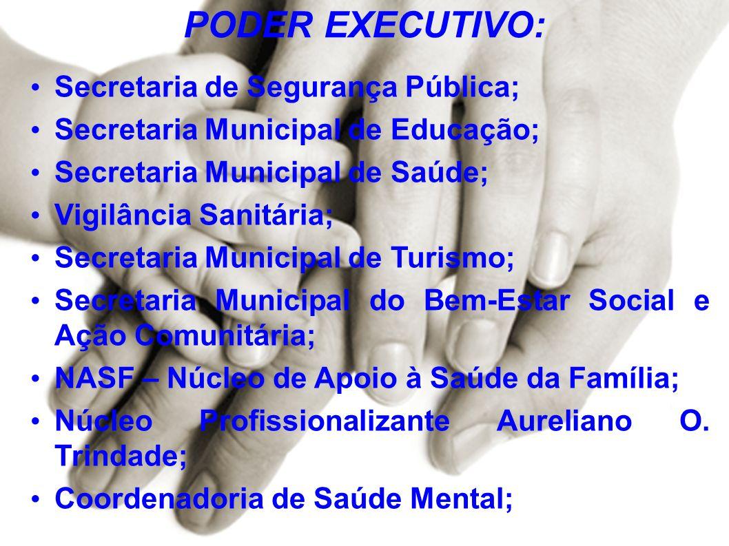 PODER EXECUTIVO: Secretaria de Segurança Pública; Secretaria Municipal de Educação; Secretaria Municipal de Saúde; Vigilância Sanitária; Secretaria Mu