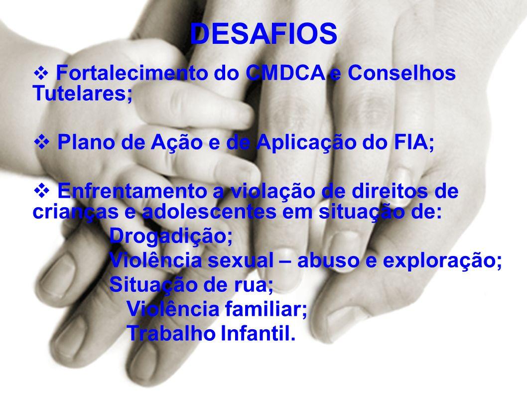 DESAFIOS Fortalecimento do CMDCA e Conselhos Tutelares; Plano de Ação e de Aplicação do FIA; Enfrentamento a violação de direitos de crianças e adoles