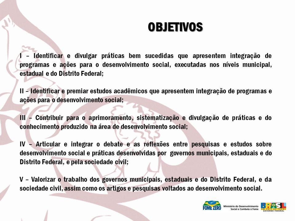 OBJETIVOS I – Identificar e divulgar práticas bem sucedidas que apresentem integração de programas e ações para o desenvolvimento social, executadas n