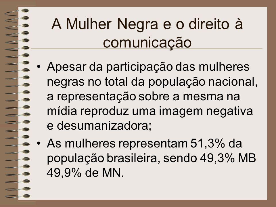 Direito à Comunicação para as Mulheres Negras As ações que visam a participação das mulheres negras no acesso ao direito à comunicação reafirmam a necessidade de enfrentamento ao racismo, ao sexismo, à discriminação e às barreiras regionais existentes no Brasil.