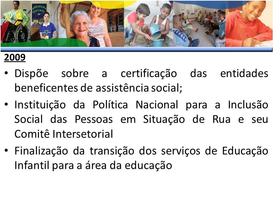 2009 Dispõe sobre a certificação das entidades beneficentes de assistência social; Instituição da Política Nacional para a Inclusão Social das Pessoas